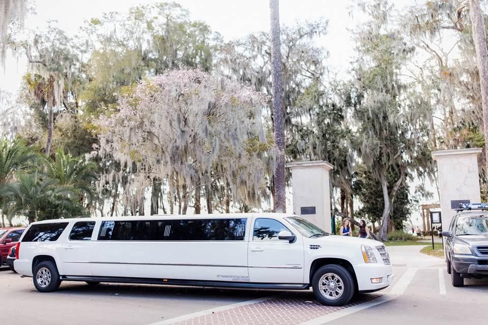White Stretch Escalade Vip Weddings Vip Wedding Transportation